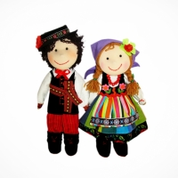 Dolls couple from Łowicz (violet)